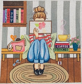 click here to view larger image of Girl Stitching (hand painted canvases)