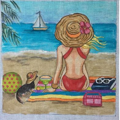 click here to view larger image of Girl at Beach (hand painted canvases)