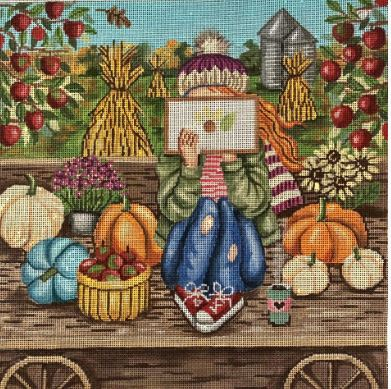 Fall Stitching Girl - click here for more details