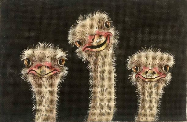 click here to view larger image of 3 Ostrich (hand painted canvases)