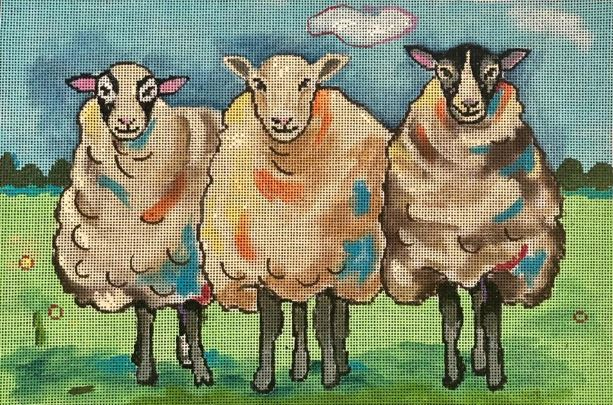 click here to view larger image of 3 Sheep (hand painted canvases)