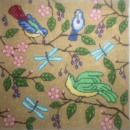 click here to view larger image of Beige Birds Pillow (hand painted canvases)