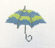 click here to view larger image of Umbrella - Blue & Green Stripe (hand painted canvases)