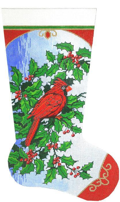 click here to view larger image of Cardinal & Holly Stocking (hand painted canvases)