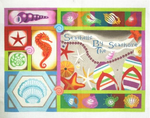 click here to view larger image of Seashells by the Seashore (hand painted canvases)