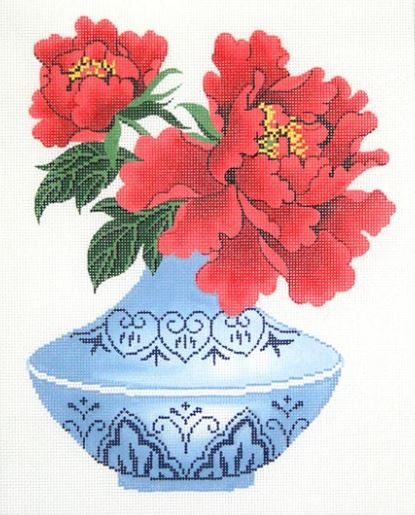 click here to view larger image of Peony Bud Vase  (hand painted canvases)