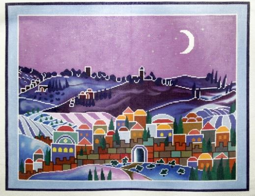 click here to view larger image of Moonlit Village Scene (hand painted canvases)