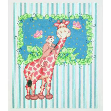 click here to view larger image of Giraffe with Monkey Bazoople (hand painted canvases)