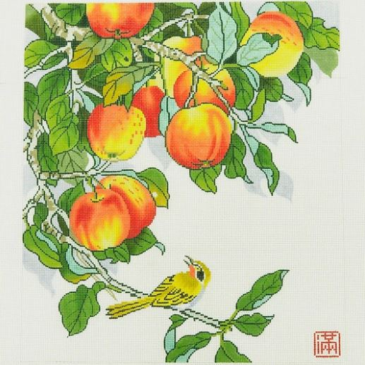 click here to view larger image of Yellow Bird w/Peaches (hand painted canvases)