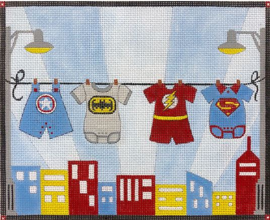 click here to view larger image of Boys Superhero Clothesline  (hand painted canvases)
