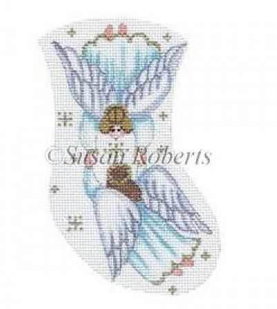 click here to view larger image of Angels Holding Hands Mini Stocking (hand painted canvases)