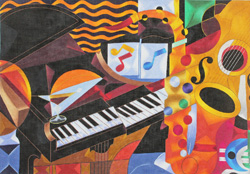 click here to view larger image of Piano Concert                     (hand painted canvases)