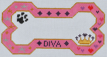 click here to view larger image of Diva Bone Ornament  (hand painted canvases)