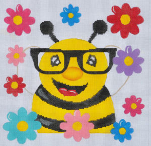 click here to view larger image of Bee with Glasses  (hand painted canvases)