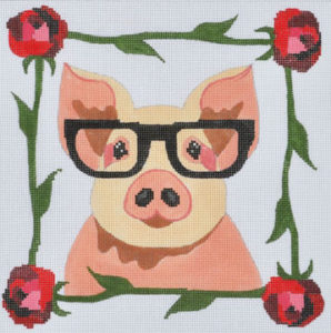 click here to view larger image of Pig with Glasses  (hand painted canvases)