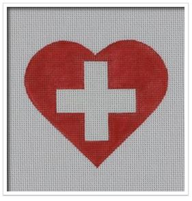 click here to view larger image of Swiss Flag Heart   (hand painted canvases)
