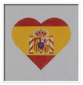 click here to view larger image of Spanish Flag Heart   (hand painted canvases)