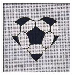 click here to view larger image of Soccer Ball Heart   (hand painted canvases)