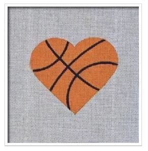 click here to view larger image of Basketball Heart   (hand painted canvases)