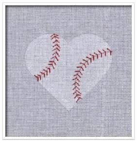 click here to view larger image of Baseball Heart   (hand painted canvases)