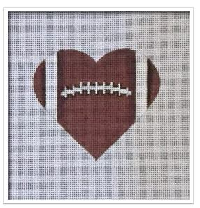 click here to view larger image of Football Heart   (hand painted canvases)