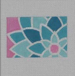click here to view larger image of Blue/Green Graphic Flower Rectangle (hand painted canvases)