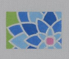 click here to view larger image of Blue Graphic Flower Rectangle (hand painted canvases)