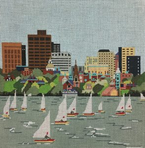 click here to view larger image of Charles River Sailing (hand painted canvases)