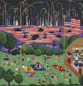 click here to view larger image of Fourth of July on the Esplande (hand painted canvases)