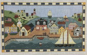 click here to view larger image of New England Harbor with Border (hand painted canvases)