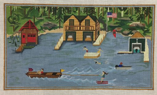 click here to view larger image of Boat Houses on the Lake (hand painted canvases)
