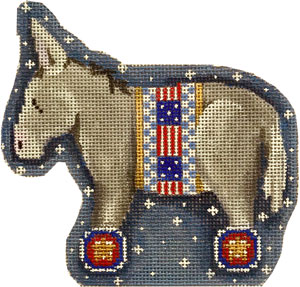 click here to view larger image of Patriotic Donkey (hand painted canvases)