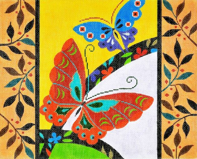 click here to view larger image of Butterflies w/Border (hand painted canvases)