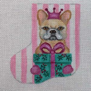 click here to view larger image of French Bulldog Mini Stocking - Girl (hand painted canvases)