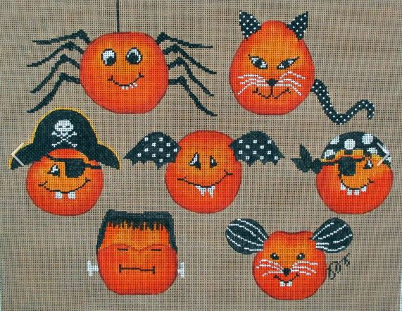 click here to view larger image of Cheeky Pumpkins (hand painted canvases)