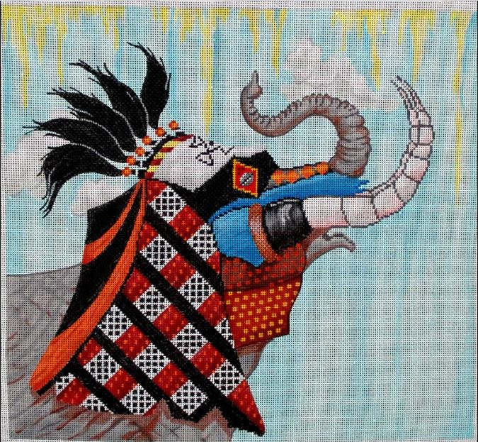 Elephant Tribal Mask - click here for more details about this hand painted canvases