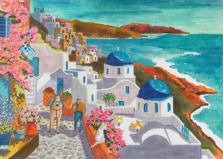 Santorini Greece - click here for more details about this hand painted canvases