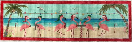 Flamingle Christmas - click here for more details about this hand painted canvases