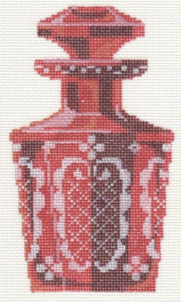 Etched Cranberry Perfume Bottle - click here for more details about this hand painted canvases