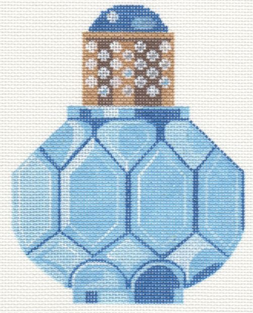 Sapphire and Pearl Perfume Bottle - click here for more details about this hand painted canvases