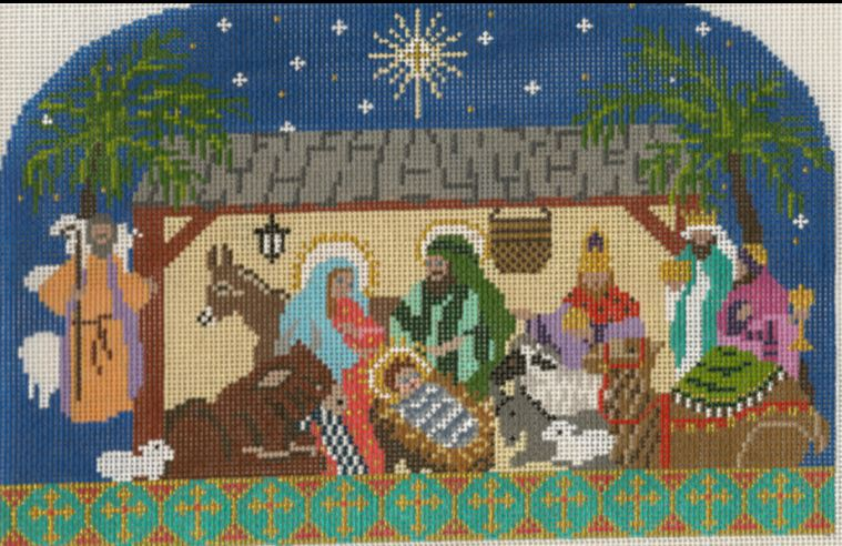 click here to view larger image of Christ is Christmas - Manger Scene 13M (hand painted canvases)