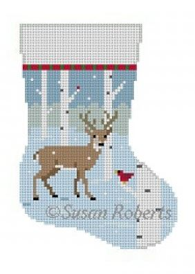 click here to view larger image of Birch Tree Deer Mini Stocking (hand painted canvases)