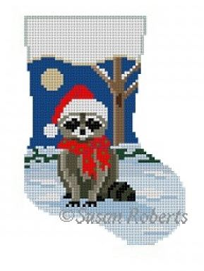 click here to view larger image of Night Raccoon Mini Stocking (hand painted canvases)