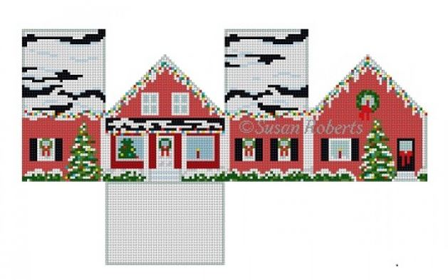 click here to view larger image of Red Christmas House - 3D (hand painted canvases)