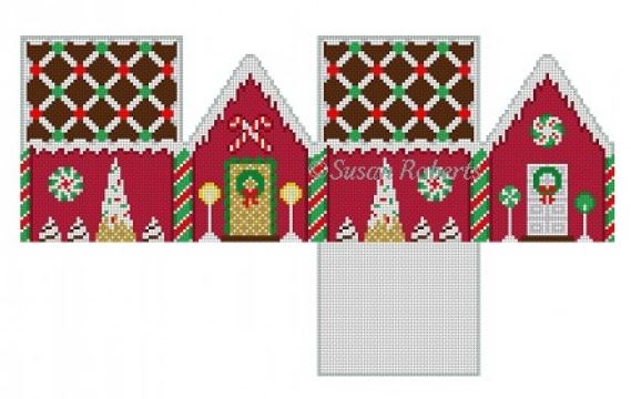 click here to view larger image of Chocolate Trellis Red Velvet House - 3D (hand painted canvases)