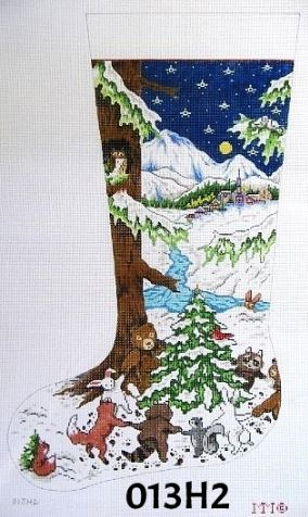 click here to view larger image of Forest Animals Dancing / Night Snow Scene (hand painted canvases)
