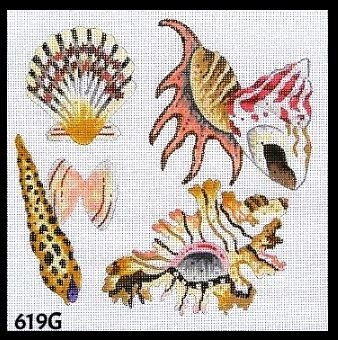 click here to view larger image of Seashells (hand painted canvases)