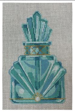 click here to view larger image of Aqua and Gold Perfume Bottle (hand painted canvases)