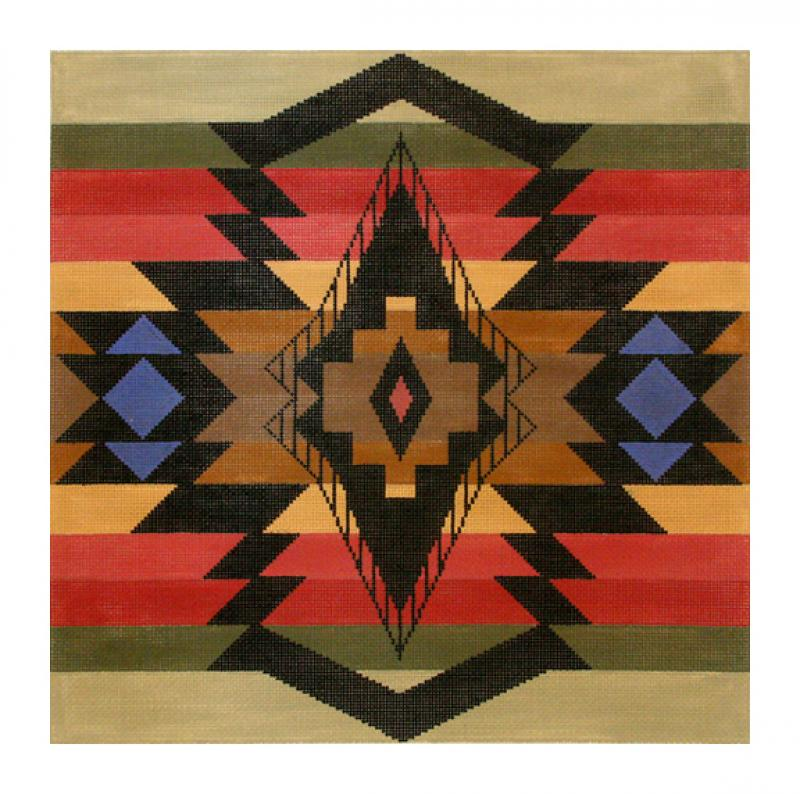 click here to view larger image of Diamond Banded Trade Blanket (hand painted canvases)