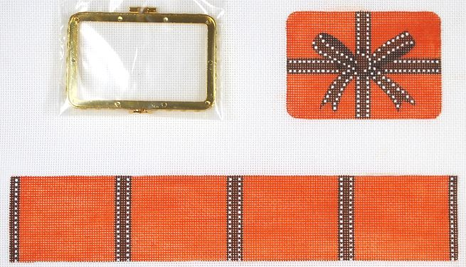 click here to view larger image of Limoges Box - Med. Rectangle Hermes Wrapped Box  - Orange & Brown (gold clasp)  (hand painted canvases 2)